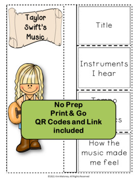 Music: Musicians - Taylor Swift: Music Listening and Research Foldables