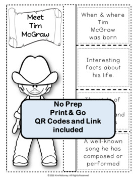 Music: Male Singers - Tim McGraw: Music Listening and Research Foldables