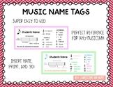 Music Name Tags