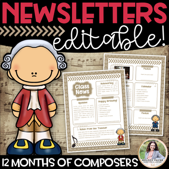 Music Newsletters With Composers Editable Templates For Each Month