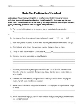 Music Non-Participation Worksheet