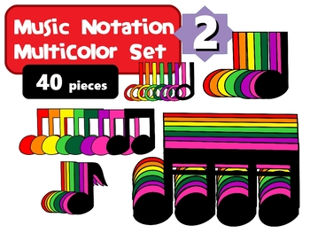 Music Notation Boomwhacker Colors Clip Art Set