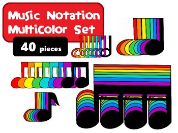 Music Notation Multi-Color Clip Art Set