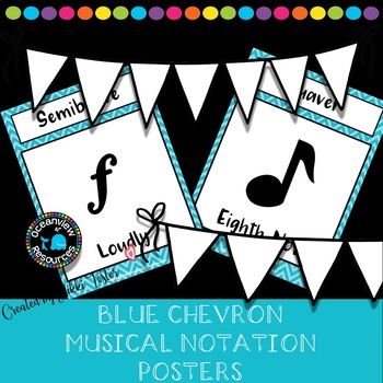 Music Notation Posters- Blue Chevron design