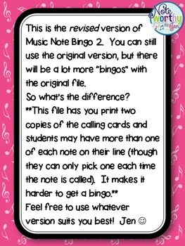 Music Note Bingo 2:  Whole Note, Whole Rest