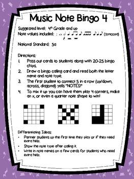 Music Note Bingo 4:  Syncopa