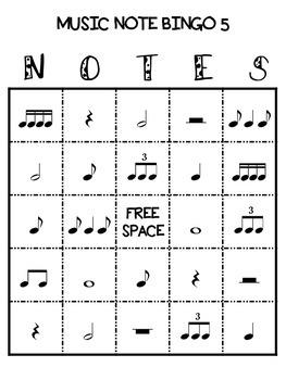 Music Note Bingo 5:  Triplet