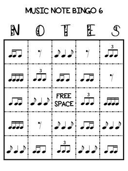 Music Note Bingo 6:  Tiri-Ti, Ti-Tiri, Eighth Rest