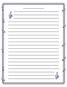 Music Note Border Lined Paper