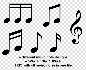 Music Note Clip Art Silhouettes
