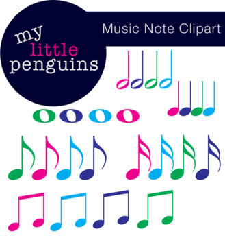 Music Note Clipart Whole, Half, Eight, Sixteenth