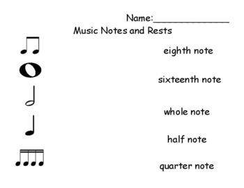 Music Note Match Picture to Word