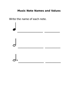 Music Note Names and Value Worksheet