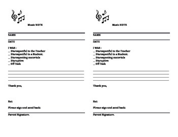 Music Note - Parent Note Home