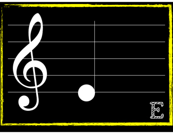 Music Note Posters (Treble Clef, Color-Coded)