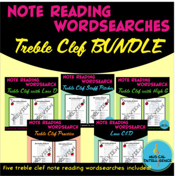 Music Note Reading Word Search - Treble Clef BUNDLE
