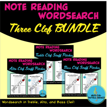Music Note Reading Word Search - 3 Clef Band or Orchestra Ensemble BUNDLE