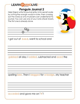Music Note Spelling Worksheet Through Story Telling 2 - Sheet Music Practice