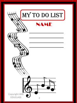 Music Note Theme Daily To Do List Planner