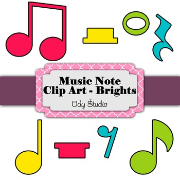 Music Note and Rest Clip Art - Brights