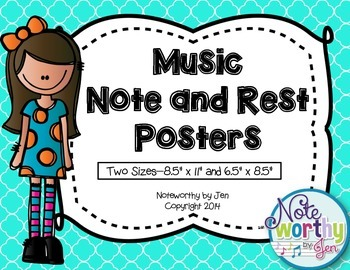Music Note and Rest Posters {Seafoam Quatrefoil, TWO sizes}