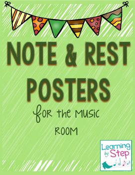 Music Note and Rest Posters (fall colors)