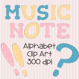 Music Notes Alphabet Set Clipart  - All Caps - pink, blue and yellow - 300 DPI