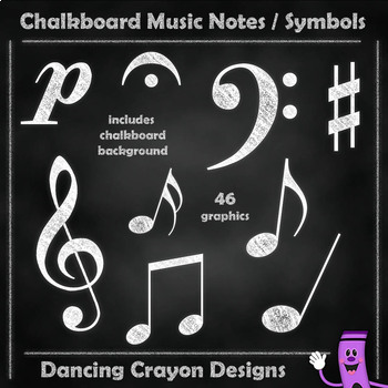 Music Notes - Chalk Style with Chalkboard Backgrounds ...