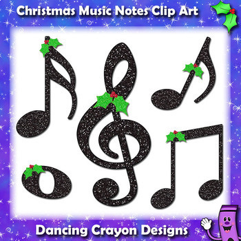 Music Notes: Christmas Glitter Music Notes Clip Art