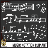 White Music Notes Clip Art - Accurate Standard Musical Notation
