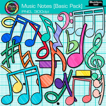 Music Notes Clip Art BASIC PACK {Rhythm, Notation, and Symbol Graphics}