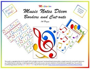 Music Notes Decor Set - Multi-color Borders and Cut-outs
