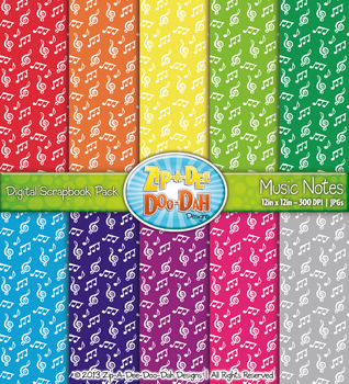 Music Notes Digital Scrapbook Pack — Rainbow (10 Pages)