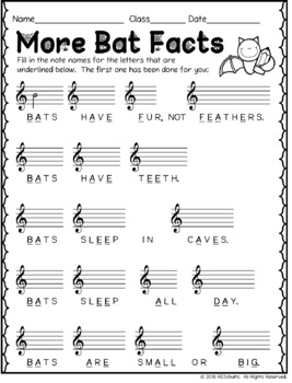 Music Notes Fill in the Blank: BAT FACTS