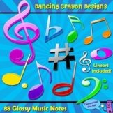 Music Notes: Glossy Music Notes Clipart Set
