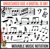Music Notes MOVABLE Digital Pieces - Accurate Notation for Digital - Clip Art