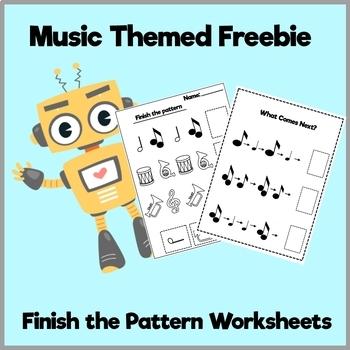 Music Notes Pattern Worksheet Freebie!