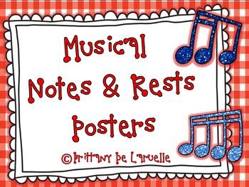 Music Notes & Rests Posters - Color, black & white, PLUS e