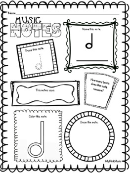 Music Notes & Rests: flip-book and full page worksheets (Preview has a FREEBIE!)