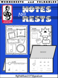 Music Notes & Rests: flip-book and full page worksheets (P