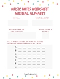 Music Notes Worksheet - Musical Alphabet (updated)