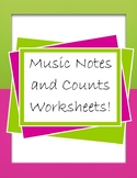 Music Notes and Counts Worksheets