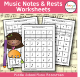 Music Notes and Rests Worksheets - Set 1