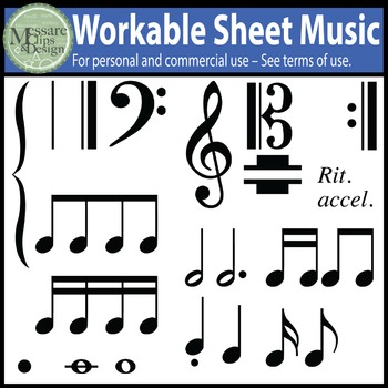 Music Notes and Composition Clip Art Pack {Messare Clips a