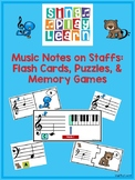 Music Notes on Staffs: Flash Cards, Puzzles, & Memory Games