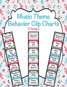 "Music ""Noteworthy"" Behavior Clip Charts (3 design options)"