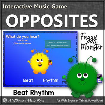 Music Opposite Beat or Rhythm Interactive Music Game {Fuzzy Monsters}