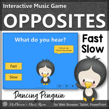 Winter Music: Music Opposite Fast Slow Interactive Music Game {Dancing Penguin}