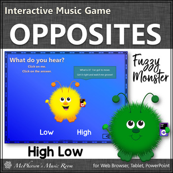 Music Opposite High Low Interactive Music Game {Fuzzy Monsters}