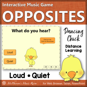 Music Opposite Loud or Quiet Interactive Music Game {Dancing Chick}